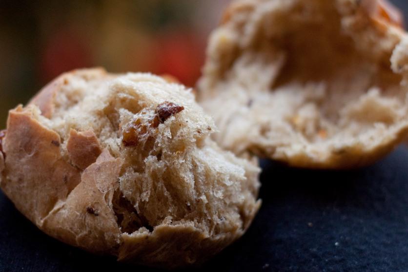 hot cross bun with currants and golden raisins