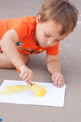 painting with the baking soda paste